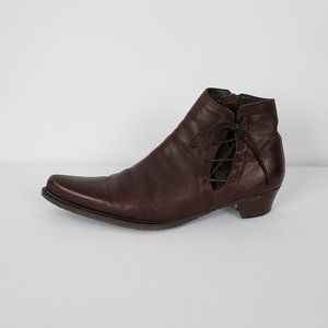 Emanuelle Come Brown Leather Booties Size 10.5